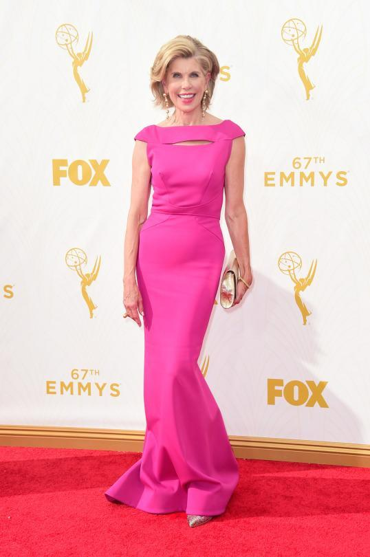 <p>Usually in suits on set, Christine Baranski popped in hot pink, earning a best dressed nod from Yahoo Style. </p>