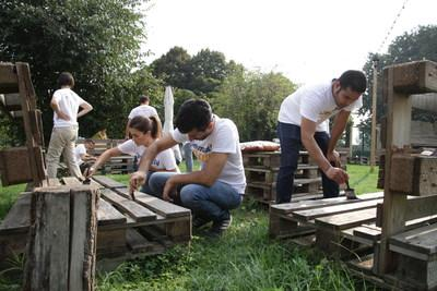 Whirlpool Corporation employees work on community building project