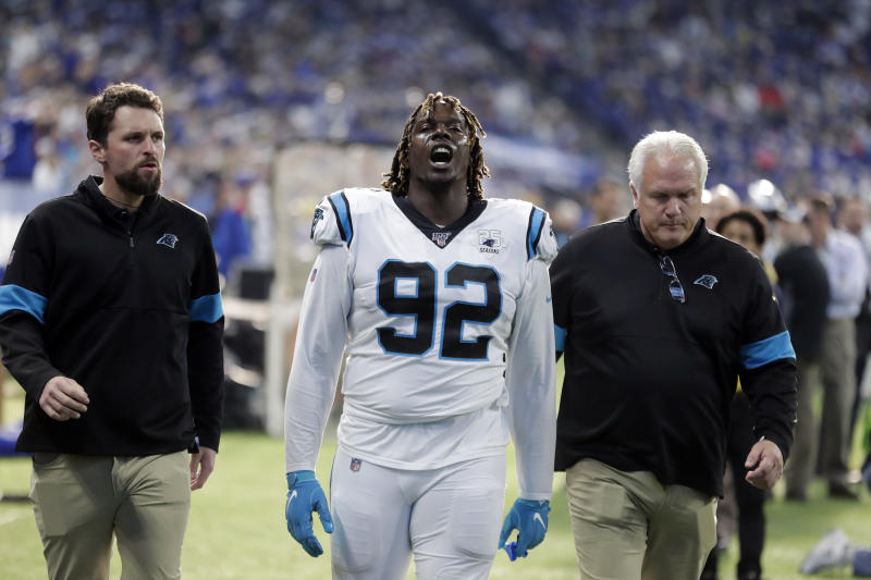 Carolina Panthers defensive tackle Vernon Butler (92) leaves the field after being ejected during the second half of an NFL football game against the Indianapolis Colts, Sunday, Dec. 22, 2019, in Indianapolis. (AP Photo/Michael Conroy)