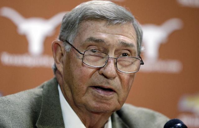 FILE - In this Oct. 1, 2013 file photo, Texas athletic director DeLoss Dodds formally announces his retirement during a news conference in Austin, Texas. A person with knowledge of the offer says Arizona State athletic director Steve Patterson has accepted the athletic director's job at the University of Texas. (AP Photo/Eric Gay, File)