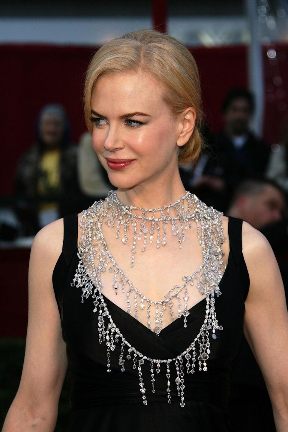 Repeat attendee Nicole Kidman has worn more than her share of great jewels at the Oscars, but the sautoir-style necklace she wore to the 2008 ceremony takes the cake. Designed by Kidman's then stylist, the late L'Wren Scott, the handcrafted chains with their drip effect required 7,500 diamonds and 6,200 hours of labor.