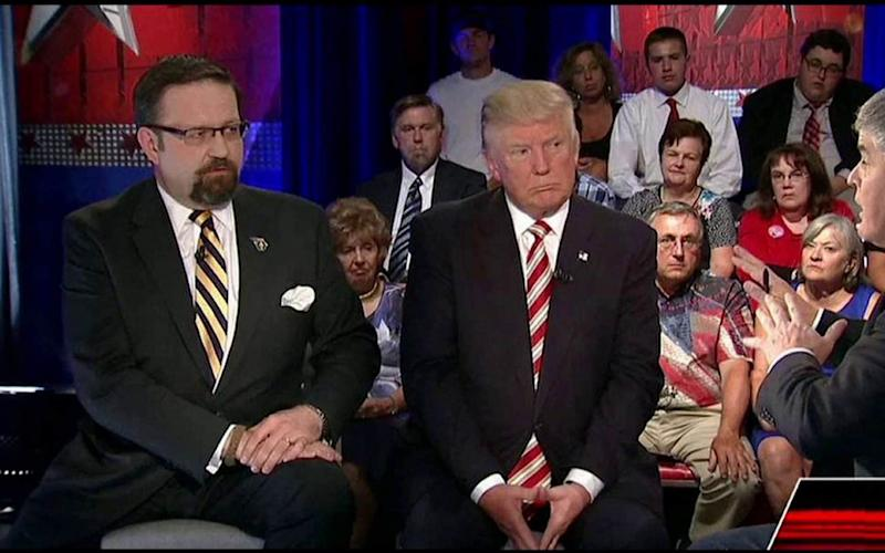 Trump and Gorka on the Fox News Hannity show in August 2016  - Credit: Fox news