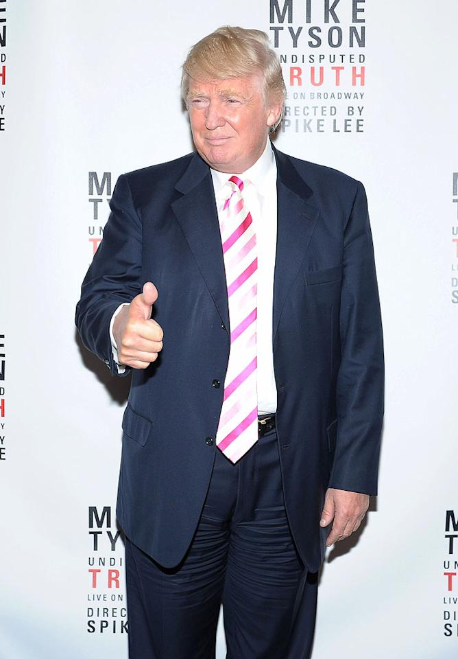 "Mogul Donald Trump gave the show ""Mike Tyson: Undisputed Truth"" a thumbs up, despite the fact he hadn't seen it yet when this photo was taken. (8/2/2012)"