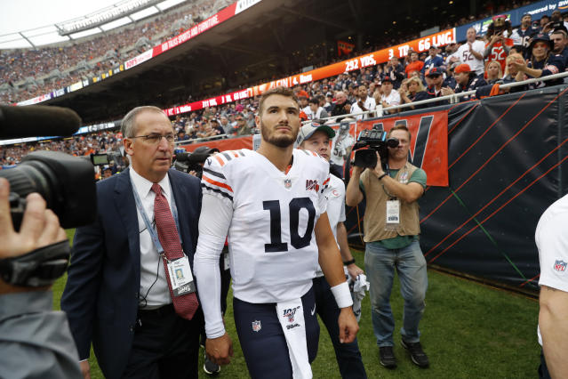 Mitchell Trubisky walks to the locker room after being injured against the Vikings in September. (AP)