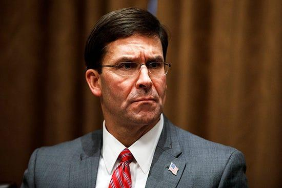 Defense Secretary Mark Esper says information is being collected to determine the cause of an explosion in Beirut.