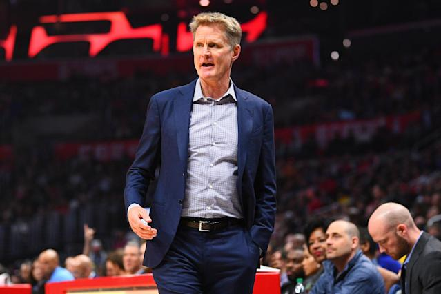 "Steve Kerr said the Warriors are in the toughest stretch they've faced since he took over, and that they're now finally in ""the real NBA."" (Brian Rothmuller/Getty Images)"