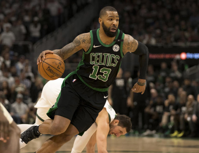 "<a class=""link rapid-noclick-resp"" href=""/nba/players/4895/"" data-ylk=""slk:Marcus Morris"">Marcus Morris</a> and Rich Paul both shot down speculation that Paul wanted to steer Morris away from competing with <a class=""link rapid-noclick-resp"" href=""/nba/players/3704/"" data-ylk=""slk:LeBron James"">LeBron James</a>. (Reuters)"