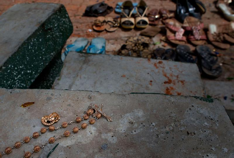 Footwear and personal belongs of victims kept close to the scene of a suicide bombing at St. Sebastian Church in Negombo, Sri Lanka, April 22, 2019. (Photo: Gemunu Amarasinghe/AP)