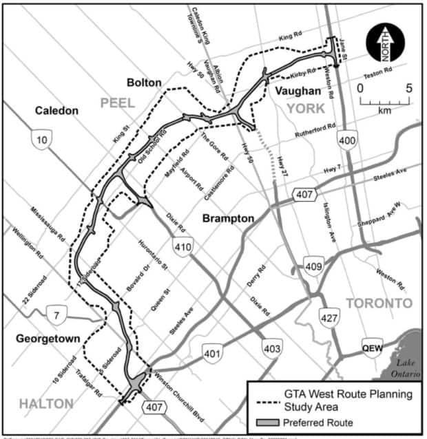 The province's preferred route for Highway 413, running from Highway 400 in Vaughan and curving west to where Highways 401 and 407 meet in Halton.