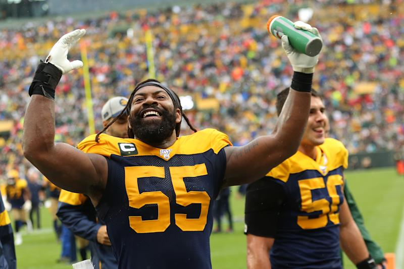GREEN BAY, WI - SEPTEMBER 22: Green Bay Packers outside linebacker Za'Darius Smith (55) is all smiles at halftime during a game between the Green Bay Packers and the Denver Broncos at Lambeau Field on September 22, 2019, in Green Bay, WI. (Photo by Larry Radloff/Icon Sportswire via Getty Images)