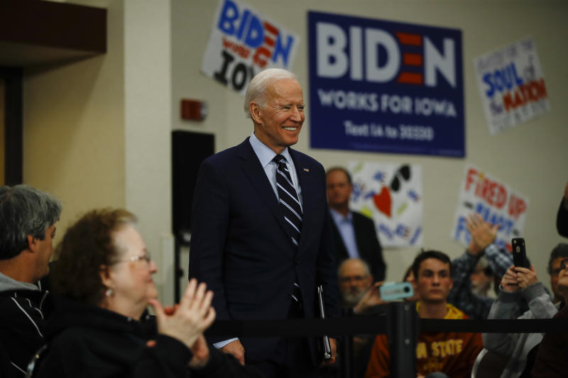 Democratic presidential candidate former Vice President Joe Biden arrives for a campaign event, Tuesday, Jan. 21, 2020, in Ames, Iowa. (AP Photo/Matt Rourke)