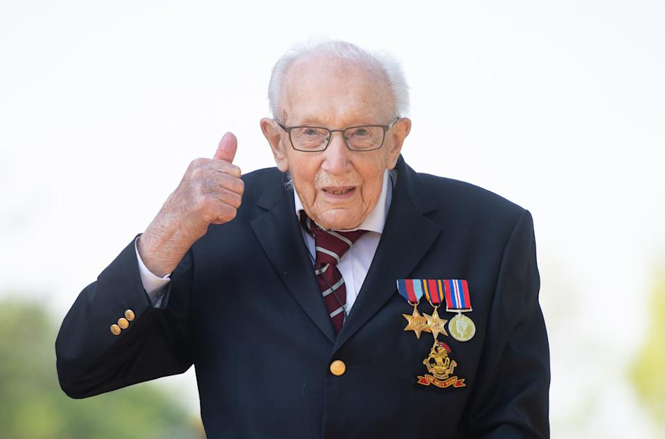 """File photo dated 16/4/2020 of Captain Tom Moore who has told the story of his part in the Second World War in a new documentary, saying conscription """"didn't do me any harm at all""""."""