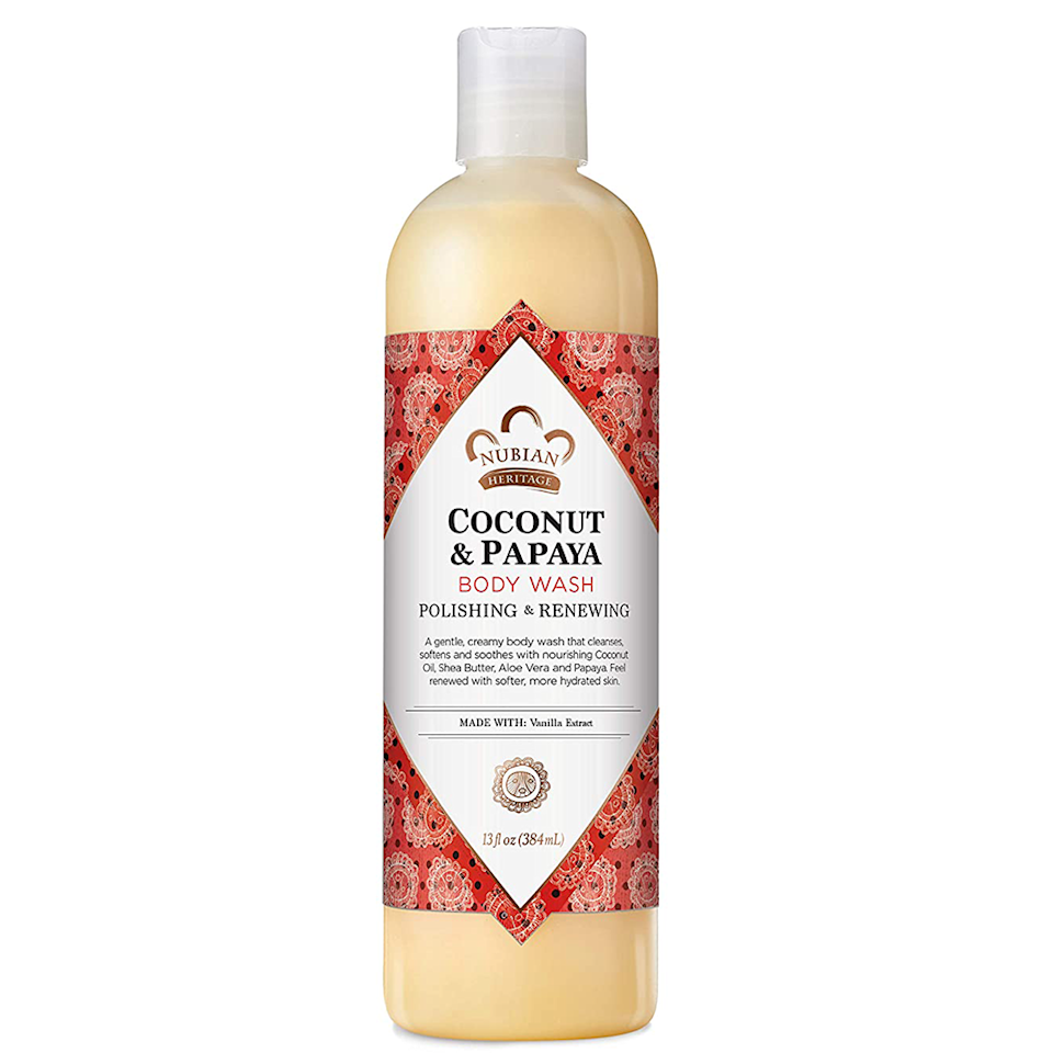 """<p><strong>Nubian Heritage</strong></p><p>amazon.com</p><p><strong>$12.59</strong></p><p><a href=""""https://www.amazon.com/dp/B0011DN13I?tag=syn-yahoo-20&ascsubtag=%5Bartid%7C10051.g.35973778%5Bsrc%7Cyahoo-us"""" rel=""""nofollow noopener"""" target=""""_blank"""" data-ylk=""""slk:Shop Now"""" class=""""link rapid-noclick-resp"""">Shop Now</a></p><p>After every use of this body wash, you'll turn your bathroom into a tropical escape with coconut and papaya scents. Even more, the shea butter and oils work to leave skin smelling good and feeling as soft as ever. Nubian Heritage products can also be bought from the Black-owned beauty retailer <a href=""""https://beautybeez.com/?gclid=Cj0KCQjwmIuDBhDXARIsAFITC_7z7twSirov3Pja-s-ZJfLxQXlgK2PSzOJm8WZ1vEF2dGDbqSVQyVkaAsfVEALw_wcB"""" rel=""""nofollow noopener"""" target=""""_blank"""" data-ylk=""""slk:BeautyBeez"""" class=""""link rapid-noclick-resp"""">BeautyBeez</a>.</p>"""