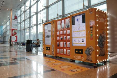 A vending machine by premium gift brand Kalms is seen at Singapore's Changi Airport Terminal 3, Singapore March 6, 2018. Picture taken March 6, 2018. REUTERS/Dewey Sim
