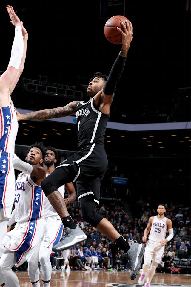 BROOKLYN, NY - NOVEMBER 4: D'Angelo Russell #1 of the Brooklyn Nets shoots the ball against the Philadelphia 76ers on November 4, 2018 at Barclays Center in Brooklyn, New York. (Photo by Nathaniel S. Butler/NBAE via Getty Images)