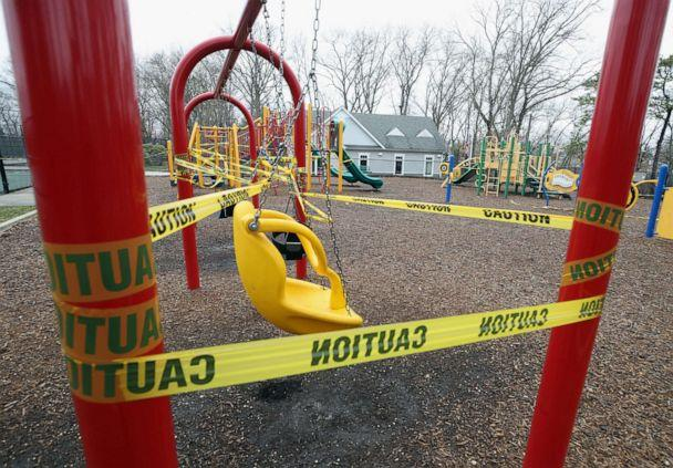 PHOTO: Playground equipment is taped off, March 30, 2020, in the Old Bethpage hamlet of Oyster Bay on Long Island, New York. (Bruce Bennett/Getty Images)