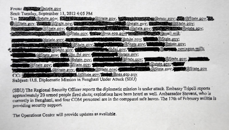 This is a redacted copy of an email obtained by The Associated Press discusses the attack of the Benghazi, Libya mission. Two hours after the U.S. Consulate came under attack in Benghazi, Libya, the White House was told that a militant group was claiming responsibility for the violence that killed the U.S. ambassador and three other Americans.   (AP Photo)