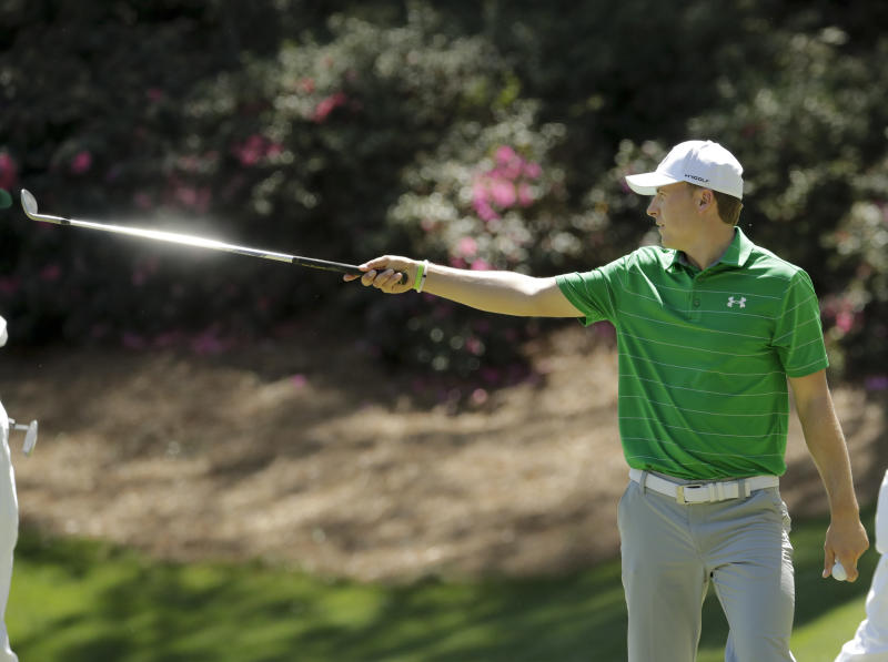 Jordan Spieth gestures on the 13th hole during a practice round for the Masters golf tournament Tuesday, April 4, 2017, in Augusta, Ga. (AP Photo/Charlie Riedel)