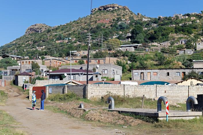 "A scene from Thabong, one of the villages in Maseru, Lesotho's capital, where many factory workers live.<span class=""copyright"">Lindokuhle Sobekwa—Magnum Photos for TIME</span>"