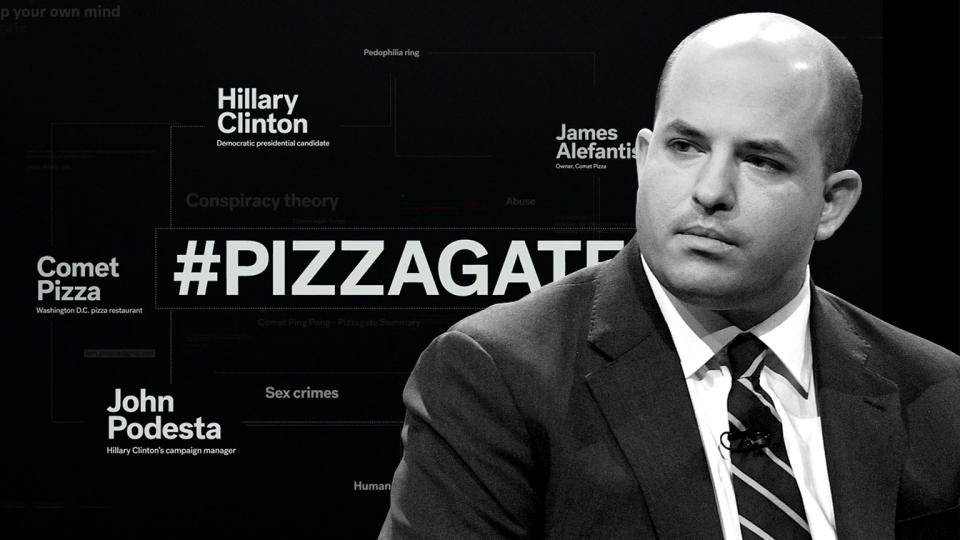 "Brian Stelter and a frame from HBO's ""After Truth"". Photo illustration: Yahoo News; photos: HBO, Matt Winkelmeyer/Getty Images)"