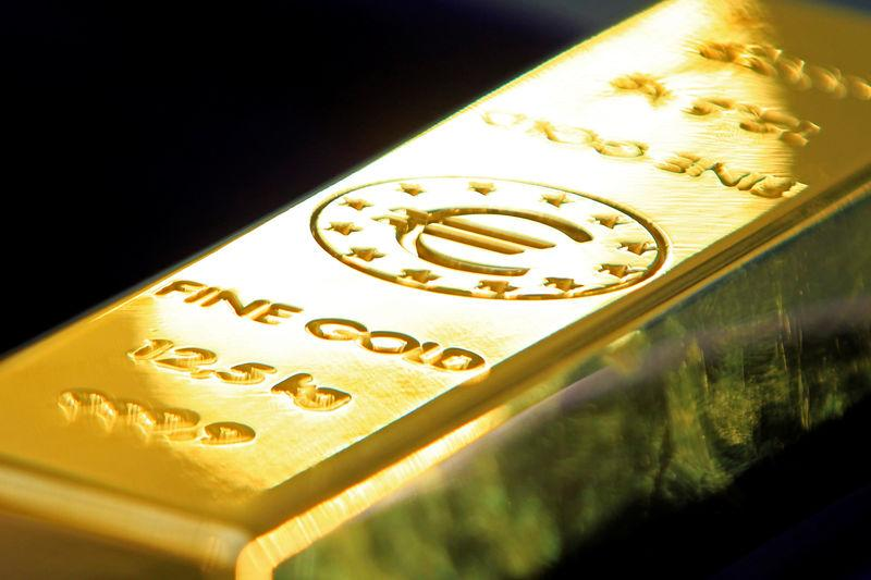 FILE PHOTO: Gold bar carrying the Euro sign is pictured in Bucharest