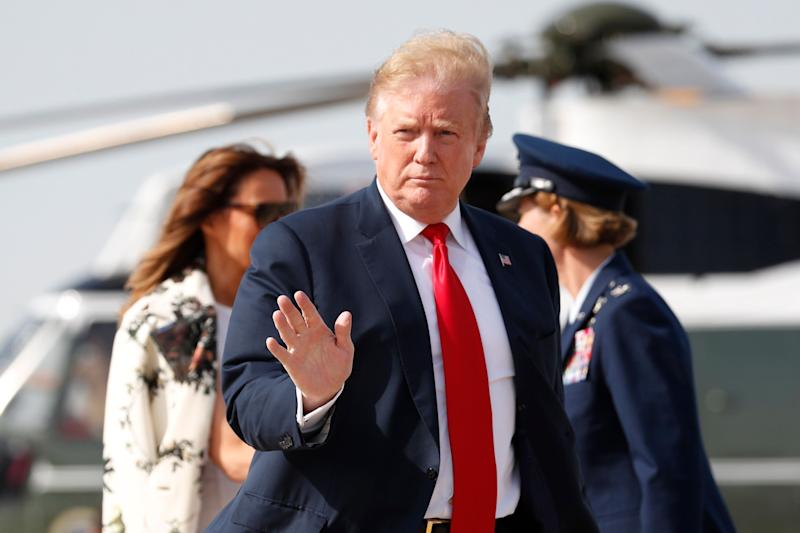 President Donald Trump and first lady Melania Trump walk from Marine One helicopter to board Air Force One, Thursday, April 18, 2019, at Andrews Air Force Base, Md. President Trump is traveling to his Mar-a-Lago estate to spend the Easter weekend in Palm Beach, Fla. (AP Photo/Pablo Martinez Monsivais)