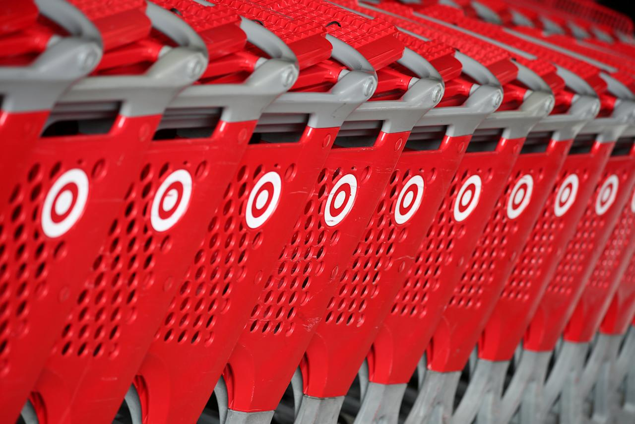 FILE PHOTO: Shopping carts are seen at a Target store in Azusa, California U.S. November 16, 2017. REUTERS/Lucy Nicholson/File Photo                   GLOBAL BUSINESS WEEK AHEAD