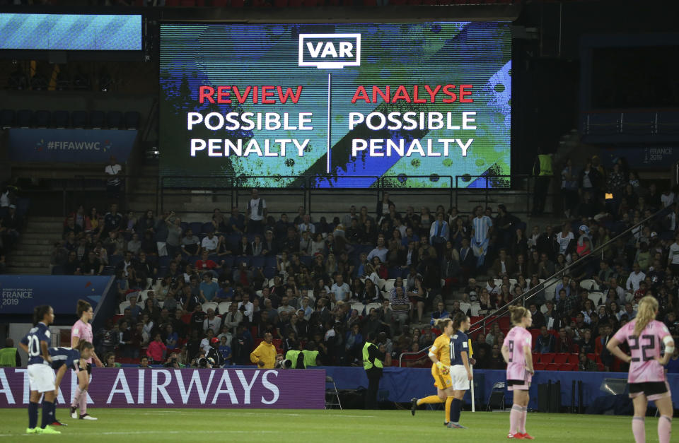 PARIS, FRANCE - JUNE 19: Illustration of the billboard warning the supporters of the use of the VAR (video assistance) for a possible penalty during the 2019 FIFA Women's World Cup France group D match between Scotland and Argentina at Parc des Princes stadium on June 19, 2019 in Paris, France. (Photo by Jean Catuffe/Getty Images)