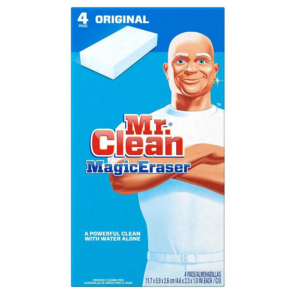 """<p>Earlier this year, I discovered <a href=""""https://www.realsimple.com/home-organizing/cleaning/how-to-clean-shower-curtain-liner"""" target=""""_blank"""">the secret to a cleaner shower curtain</a>: the Mr. Clean Magic Eraser. In mere minutes, this scrubber removes months worth of mildew with the least amount of effort possible. If you can't toss your shower curtain liner into the washing machine, don't worry, this is the answer. </p> <p><strong>To buy: </strong>$8 for 4, <a href=""""https://www.amazon.com/Mr-Clean-Multi-Surface-Cleaner-Original/dp/B0071SCSO0"""" target=""""_blank"""">amazon.com</a>. </p>"""