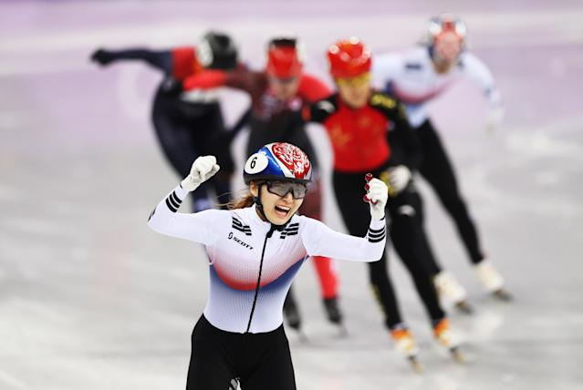 <p>Minjeong Choi of South Korea celebrates after winning the Women's 1500m Final during the Short Track Speed Skating on day eight of the PyeongChang 2018 Winter Olympic Games at Gangneung Ice Arena on February 17, 2018 in Gangneung, South Korea. (Photo by Ian MacNicol/Getty Images) </p>