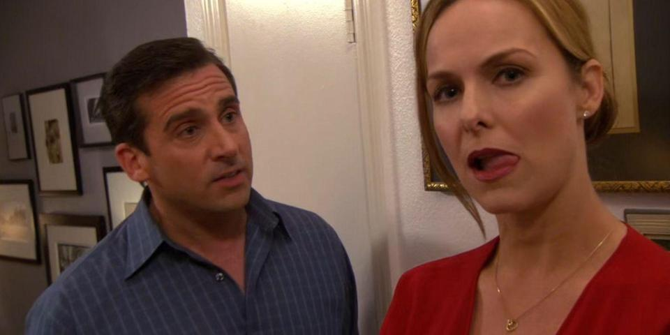 """<p>Michael and Jan were kind of the worst <em><a href=""""https://www.cosmopolitan.com/entertainment/tv/a35728247/how-to-watch-the-office-streaming/"""" rel=""""nofollow noopener"""" target=""""_blank"""" data-ylk=""""slk:Office"""" class=""""link rapid-noclick-resp"""">Office</a> </em>couple, for a lot of reasons, but among their (many) issues was the fact that they weren't on the same page about spending. Jan had expensive taste in cars and condo updates (despite being unemployed) and Michael was, well, a bit misleading about his financial sitch. </p>"""