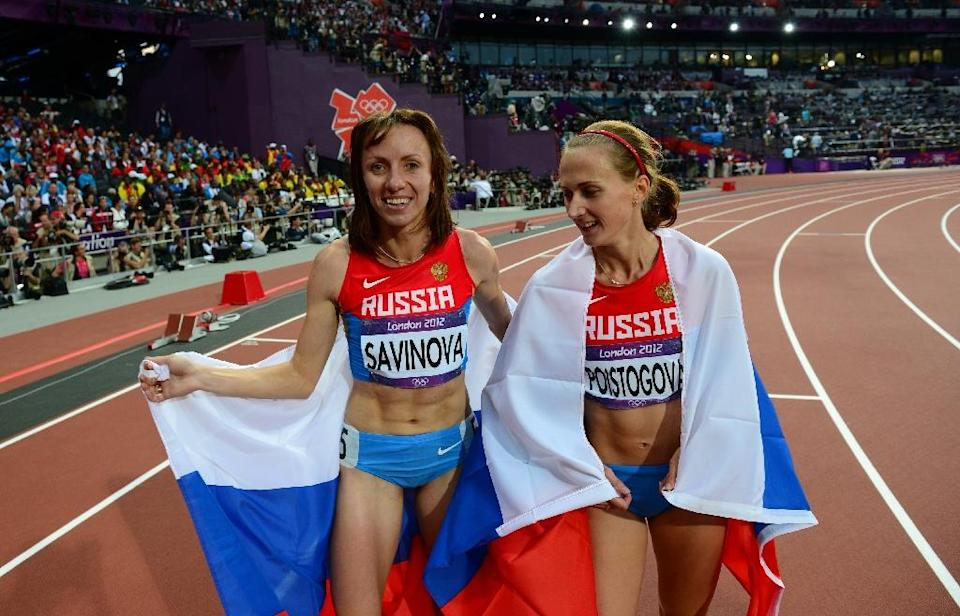 Mariya Savinova and Ekaterina Poistogova were recommended for lifetime bans from athletics after last November's bombshell World Anti-Doping Agency report that documented systematic doping in Russian athletics (AFP Photo/Franck Fife)