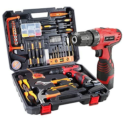 jar-owl 16.8V Tool Set with Drill, 247 In-lb Torque, 0-1300RMP Variable Speed, 10MM 3/8'' Keyle…