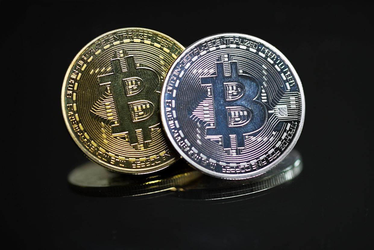LONDON, ENGLAND - MAY 23: In this photo illustration, a visual representation of Bitcoin cryptocurrency is pictured on May 21, 2021 in London, England. Bitcoin is a decentralized digital currency, which has been in use since 2009. (Photo illustration by Mark Case/Getty Images)