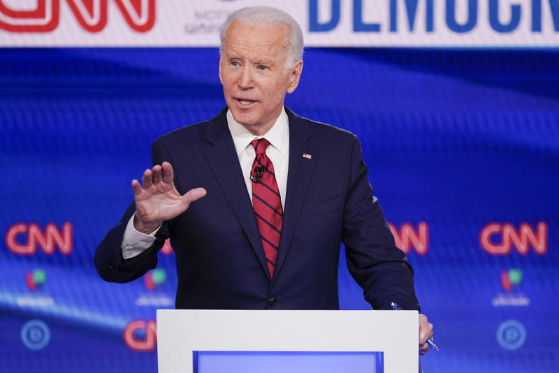FILE - In this Sunday, March 15, 2020, file photo, former Vice President Joe Biden participates in a Democratic presidential primary debate at CNN Studios in Washington. Biden won Oregon's Democratic presidential primary, outpacing Vermont Sen. Bernie Sanders and Massachusetts Sen. Elizabeth Warren, who both suspended their campaigns earlier in the year. (AP Photo/Evan Vucci, File)