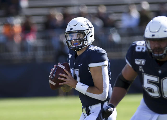 Connecticut quarterback Jack Zergiotis (11) looks to pass during the second half of an NCAA college football game against Houston, Saturday, Oct. 19, 2019, in East Hartford, Conn. (AP Photo/Stephen Dunn)