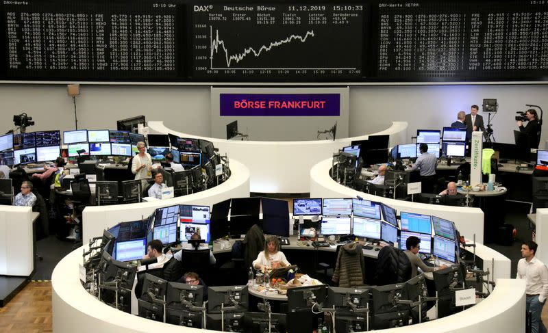 ECB, upbeat trade news push up European shares before UK election outcome