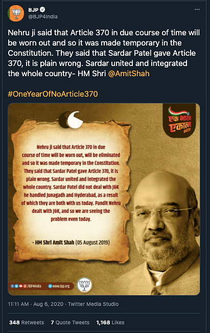 """This claim was debunked by <b>The Quint</b>. Read our fact-check <a href=""""https://www.thequint.com/news/webqoof/fact-check-was-sardar-patel-as-opposed-to-article-370-as-claimed"""" rel=""""nofollow noopener"""" target=""""_blank"""" data-ylk=""""slk:here"""" class=""""link rapid-noclick-resp"""">here</a>."""