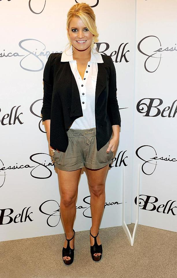 """Jessica Simpson went casual chic in khaki shorts, a sheer white polo, and a sassy updo while promoting her Jessica Simpson Collection at a Belk store in Charlotte, North Carolina. Are you a fan of the look? Kevin Mazur/<a href=""""http://www.wireimage.com"""" target=""""new"""">WireImage.com</a> - September 18, 2010"""