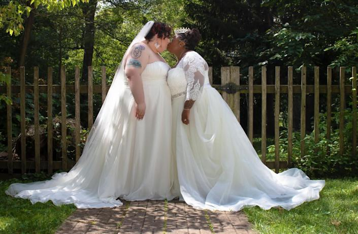 The author (left) with her wife, Jodyann Morgan, on their wedding day. (Photo: <a href=&quot;https://www.naturalnerddesigns.com/&quot; target=&quot;_blank&quot;>Photo by Danielle Lawson, Natural Nerd Designs</a>)
