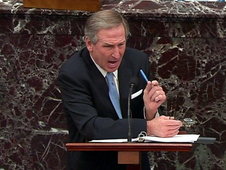 <p>Michael van der Veen, attorney for former president Donald Trump, delivers the defense team's closing argument during the fifth day of the impeachment trial</p> (U.S. Senate TV via REUTERS)