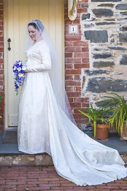 Skye wearing grandmother's post-war wedding dress in 2016