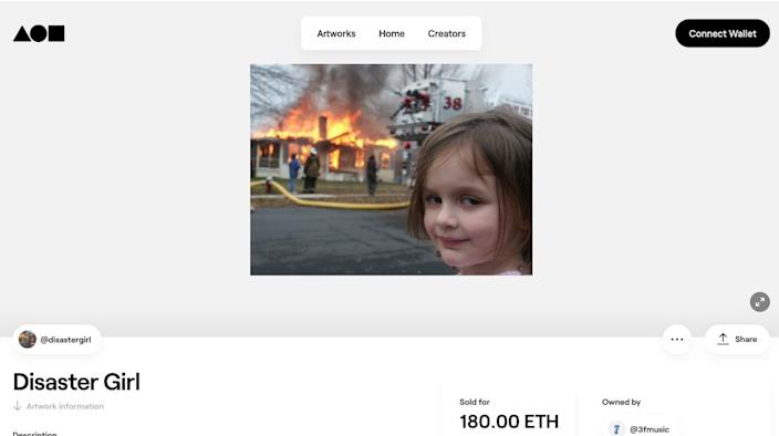 <p>Woman in 'Disaster Girl' meme sells the original photo for more than $473k</p> (Foundation)