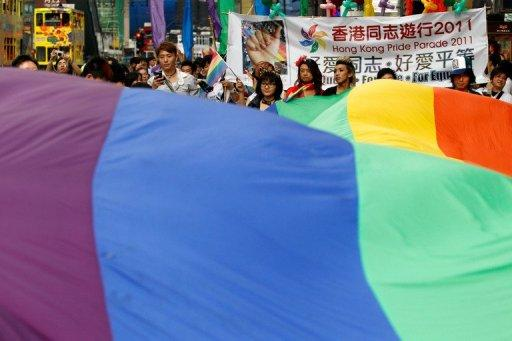 Supporters of the lesbian, gay, bisexual and transgender community (LGBT) parade in Hong Kong