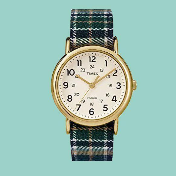 """<p><strong>Timex</strong></p><p>amazon.com</p><p><strong>$50.00</strong></p><p><a href=""""https://www.amazon.com/dp/B01FB6B3V2?tag=syn-yahoo-20&ascsubtag=%5Bartid%7C10055.g.21205637%5Bsrc%7Cyahoo-us"""" rel=""""nofollow noopener"""" target=""""_blank"""" data-ylk=""""slk:Shop Now"""" class=""""link rapid-noclick-resp"""">Shop Now</a></p><p>Timex and plaid never looked so good. While stylish, reviewers say this watch is comfortable enough for everyday wear.</p>"""