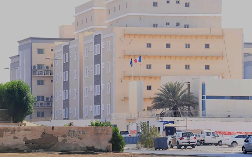 A picture taken from a distance shows the French consulate in the Saudi Red Sea port of Jeddah - MOHAMMED AHMED /AFP