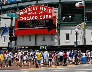 Fans gather outside Wrigley Field for a June 30 game against the Giants