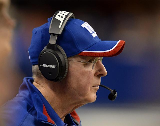 New York Giants coach Tom Coughlin watches from the sideline during the first half of an NFL preseason football game against the Indianapolis Colts on Saturday, Aug. 16, 2014, in Indianapolis. (AP Photo/Chris Howell)