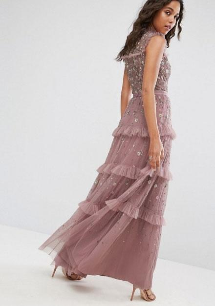 """<p>Needle & Thread High Neck Maxi Dress with Allover Embellishment, £375, ASOS</p><p><a rel=""""nofollow"""" href=""""http://www.asos.com/needle-thread/needle-thread-high-neck-maxi-dress-with-allover-embellishment/prd/8243381?clr=lilac&SearchQuery=&cid=15156&pgesize=204&pge=0&totalstyles=389&gridsize=3&gridrow=1&gridcolumn=1"""">BUY NOW</a></p>"""