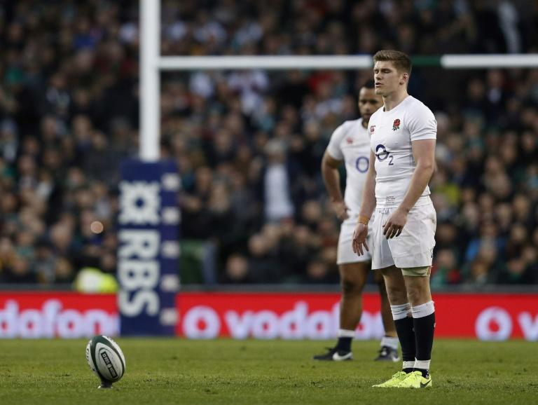 England's centre Owen Farrell converts a penalty during their Six Nations rugby union match against Ireland, at the Aviva Stadium in Dublin, on March 18, 2017